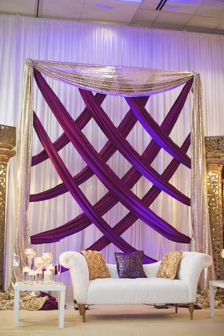 Wedding stage decor ideas  West Belmont Place Indian Wedding  Pinterest  Gold weddings