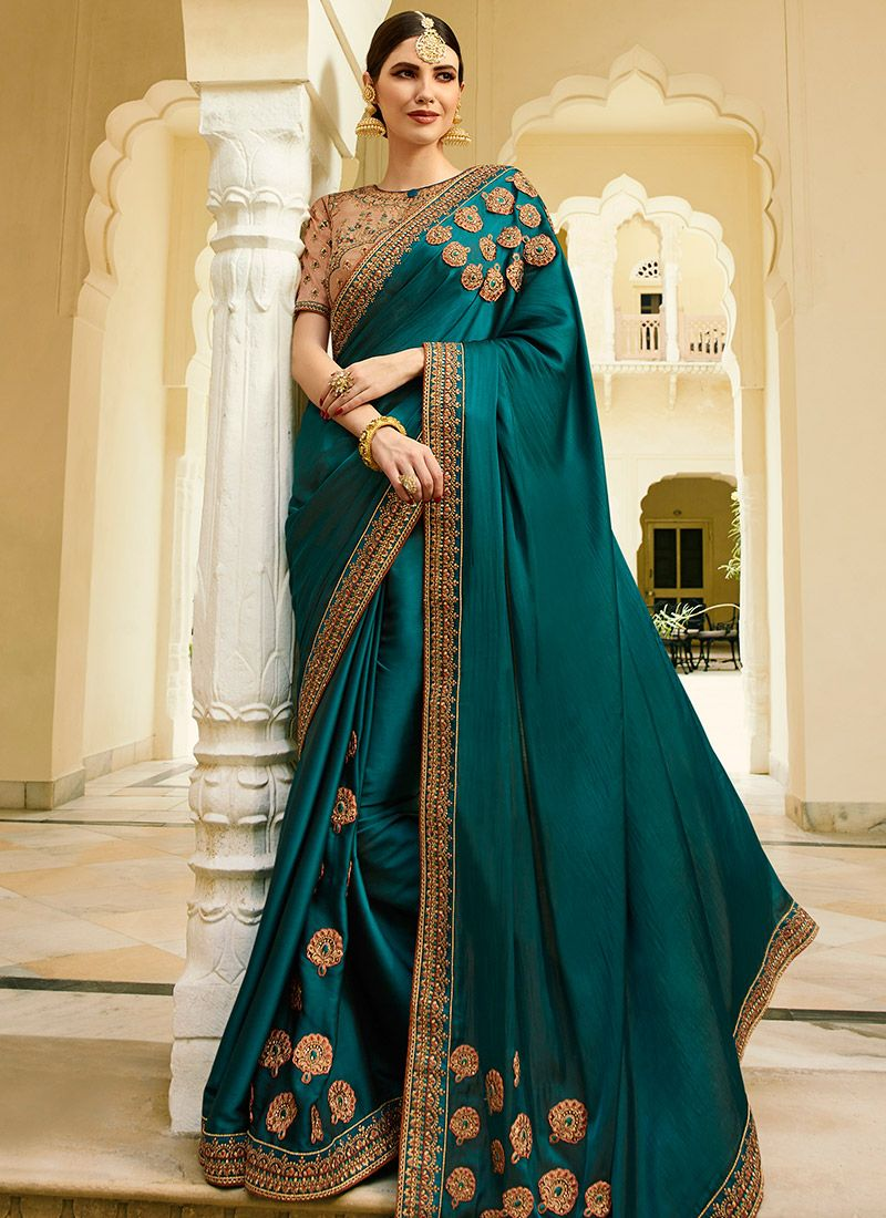 Buy Turquoise Green Embroidered Saree, Embroidered, sari Online Shopping | SASVRT60007 #saridress