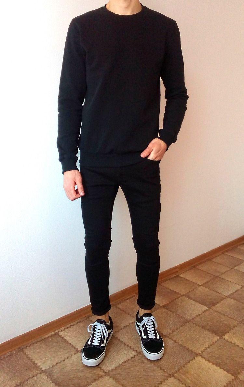 vans old skool black skinny jeans boys guys outfit | vans