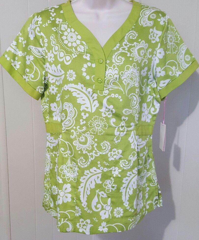 472bfce3d70 Koi Kathy Peterson Scrub Top Womens Size S Floral Lime Green White Flowers # Koi
