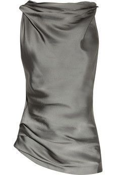 Donna Karan Cowl-Neck Matte-Satin and Jersey Top ♠♥✤
