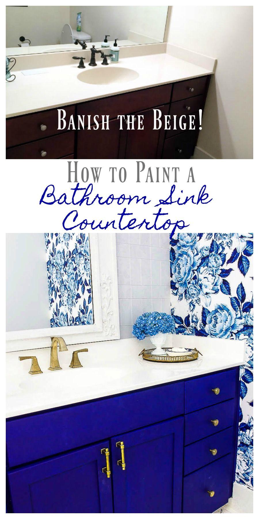 Diy Painted Bathroom Countertop And Sink 2 Bees In A Pod Painting Bathroom Beige Bathroom Bathroom Vanity Makeover [ 1800 x 900 Pixel ]