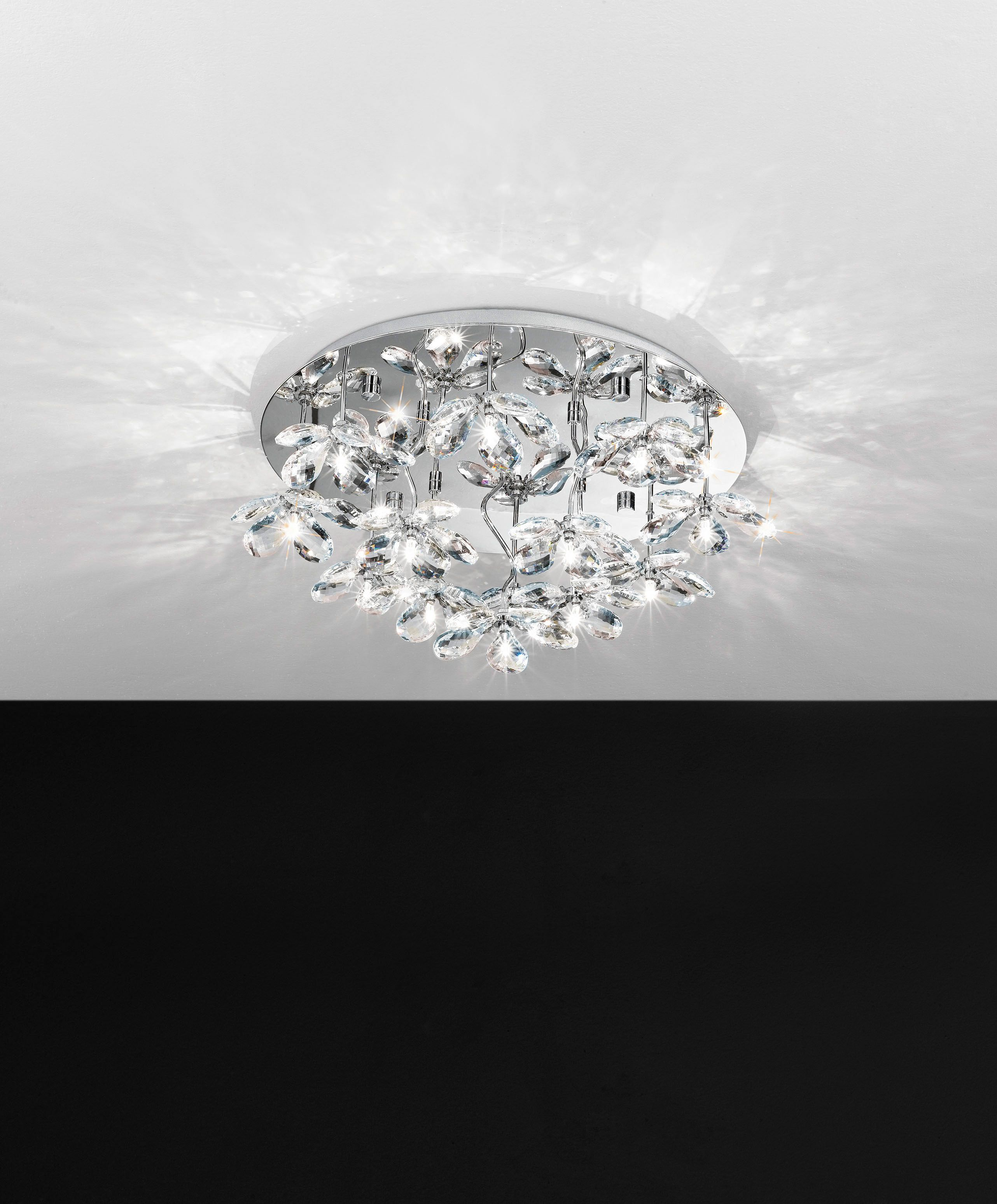 Eglo Flush Mount Light Pontedo Flowery Shaped Crystal Glass