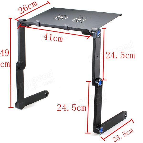 Mesa plegable de pie para el ordenador port til port til con 2 ventiladores us dise o - Mesas para ordenadores portatiles ...