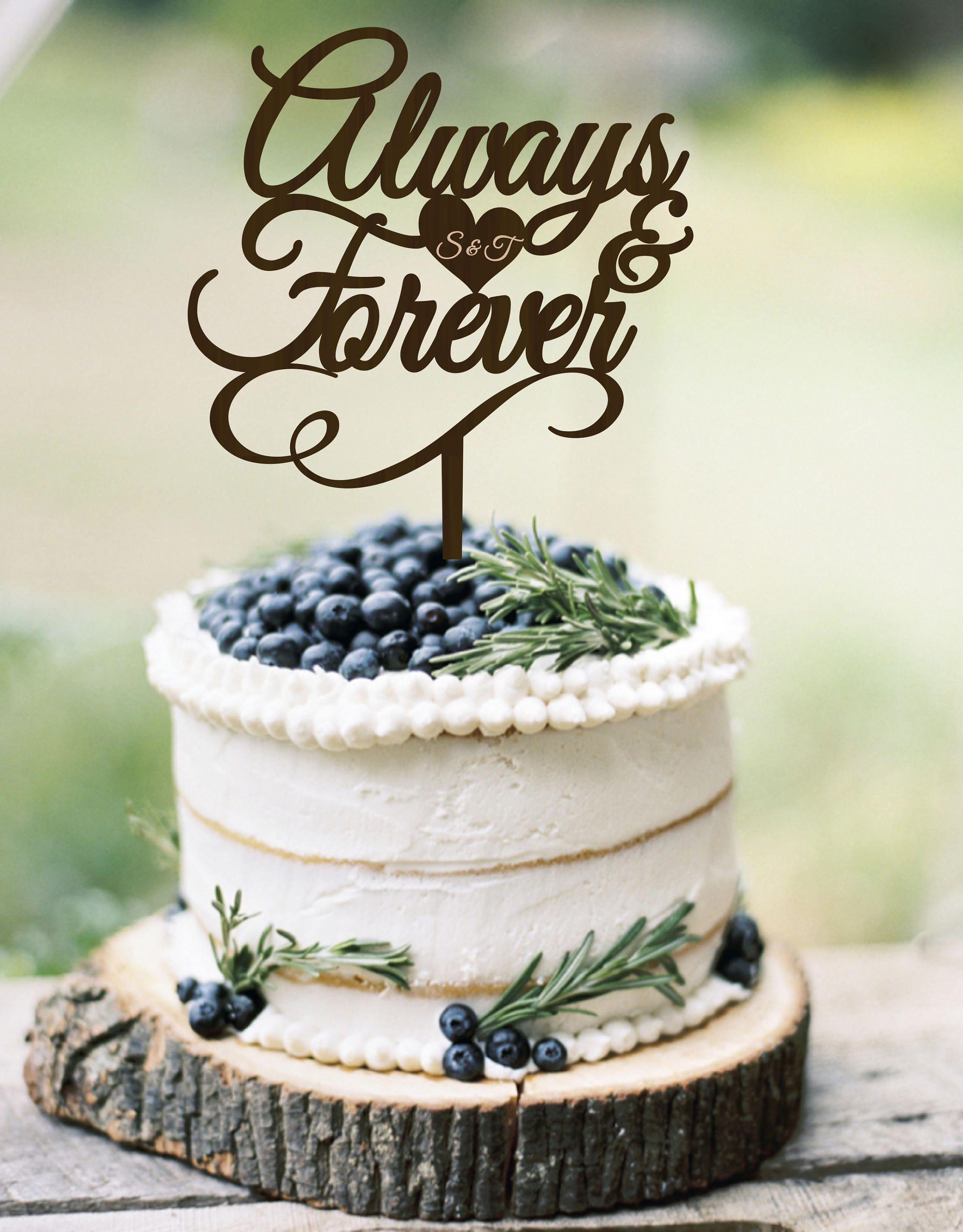 Wedding Cake Topper Always & Forever Personalized Wood Cake Topper ...