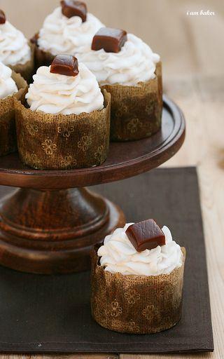 Homemade Pumpkin Caramels on Chocolate Pumpkin Cupcakes