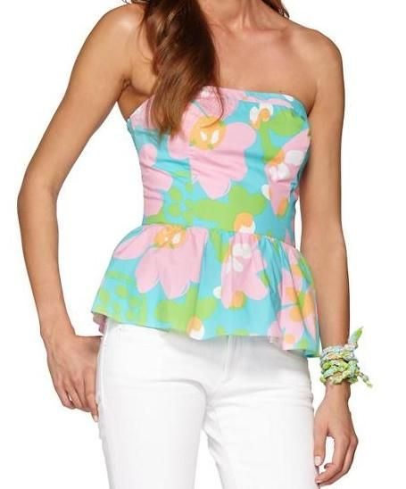 Lilly Pulitzer Shandy Strapless Peplum Top
