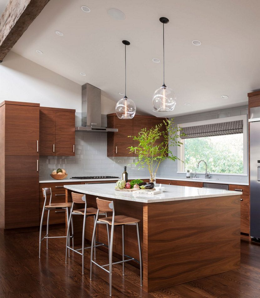 crystal chandelier over kitchen island lighting modern