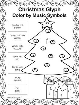 music symbol coloring pages | Christmas Music Activities: 24 Christmas Music Color by ...