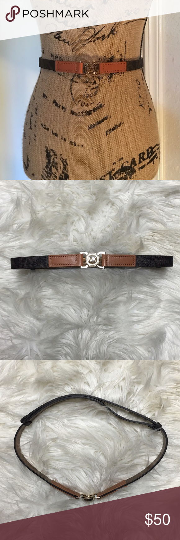 Michael Kors belt Michael Kors belt. This belt hooks in the front and is adjustable, see back of belt. Easy to use and comfortable to wear. Worn one time. And in perfect condition. MICHAEL Michael Kors Accessories Belts