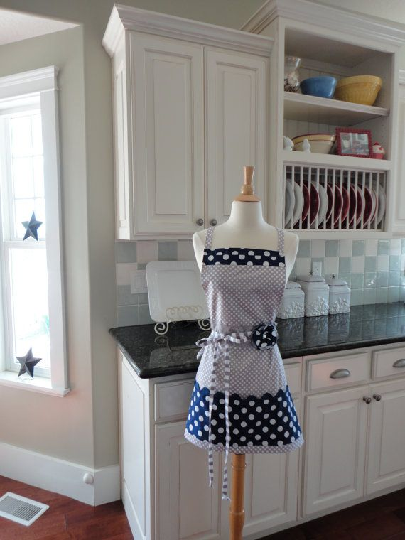 Blueberry Pie Navy Blue and Gray Dot  Barbie by 4RetroSisters, $33.95