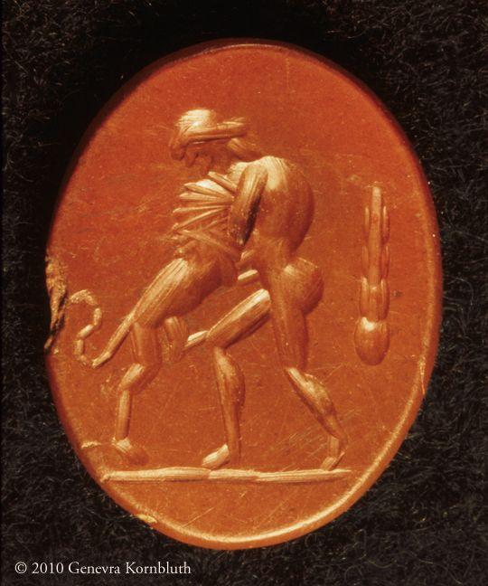 Hercules and the Nemean lion, jasper intaglio, 1st-6th c., Kelsey 26014, Bonner 109