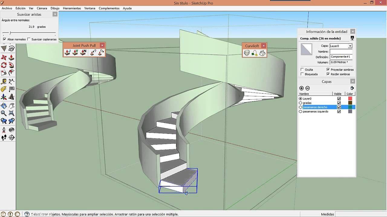 Escalera De Caracol Helicoidal En Sketchup Ramps Architecture Autocad Architecture