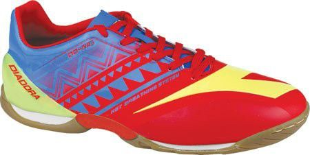 Diadora Men's DD-NA 3 R Indoor Soccer Shoe, Brilliant Blue/Fiery Red, 12.5 M US