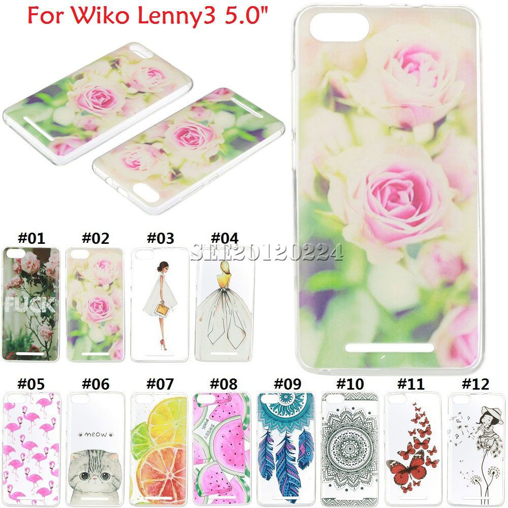 Ultra Slim Silicone Back Pattern Rubber Soft Tpu Skin Case Cover For Wiko Lenny3
