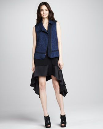 Willem Asymmetric Jacquard Vest & Portia Satin-Hem Dress by Elizabeth and James at Bergdorf Goodman.