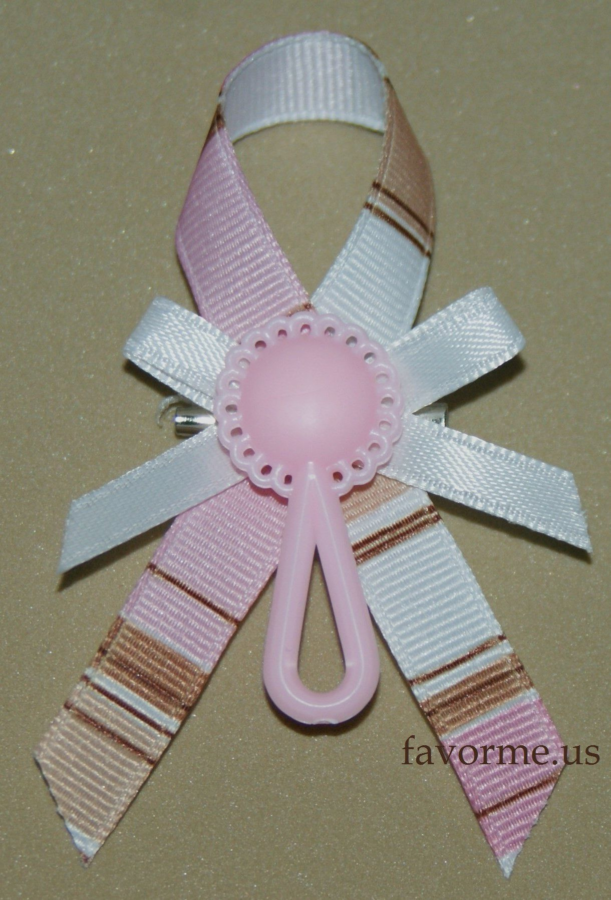 """17 Guest Pins Set of 12 """"Rattle"""" Girl Baby Shower Pin Favors"""