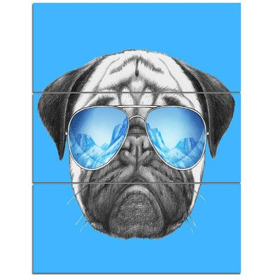 DesignArt 'Pug Dog with Mirror Sunglasses' 3 Piece Painting Print on Wrapped Canvas Set