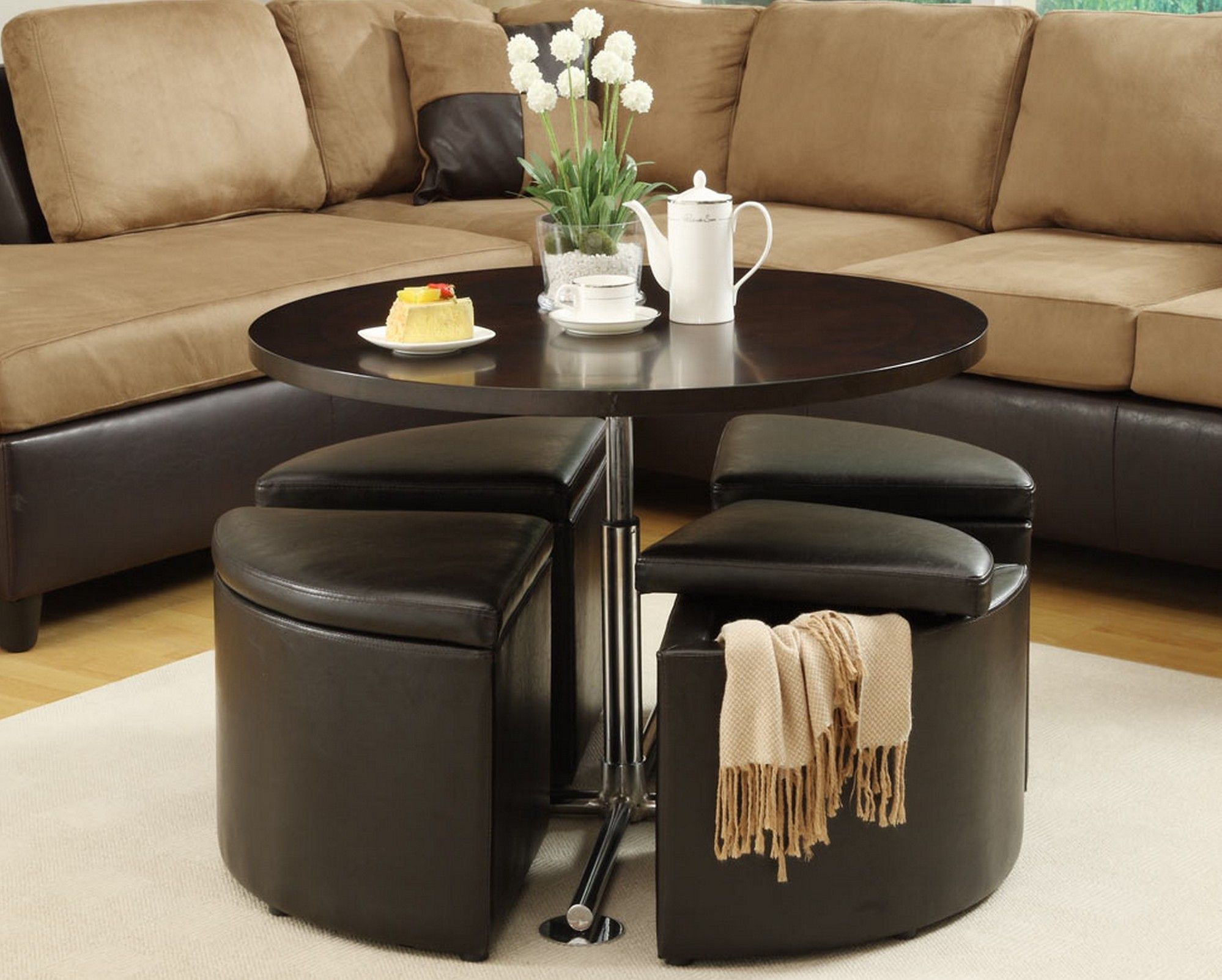 Coffee Table With Hidden Stools For Small Spaces Coffee Table