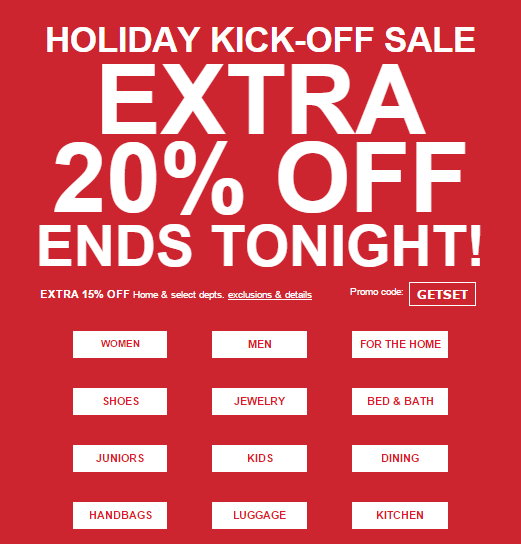 Ends tonight: extra 20% off holiday styles & more!  https://freshpickeddeals.com/macys.com/ends-tonight-extra-20-off-holiday-styles-more-711732