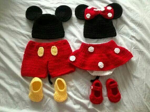 Mickey & Minnie crocheted oufits