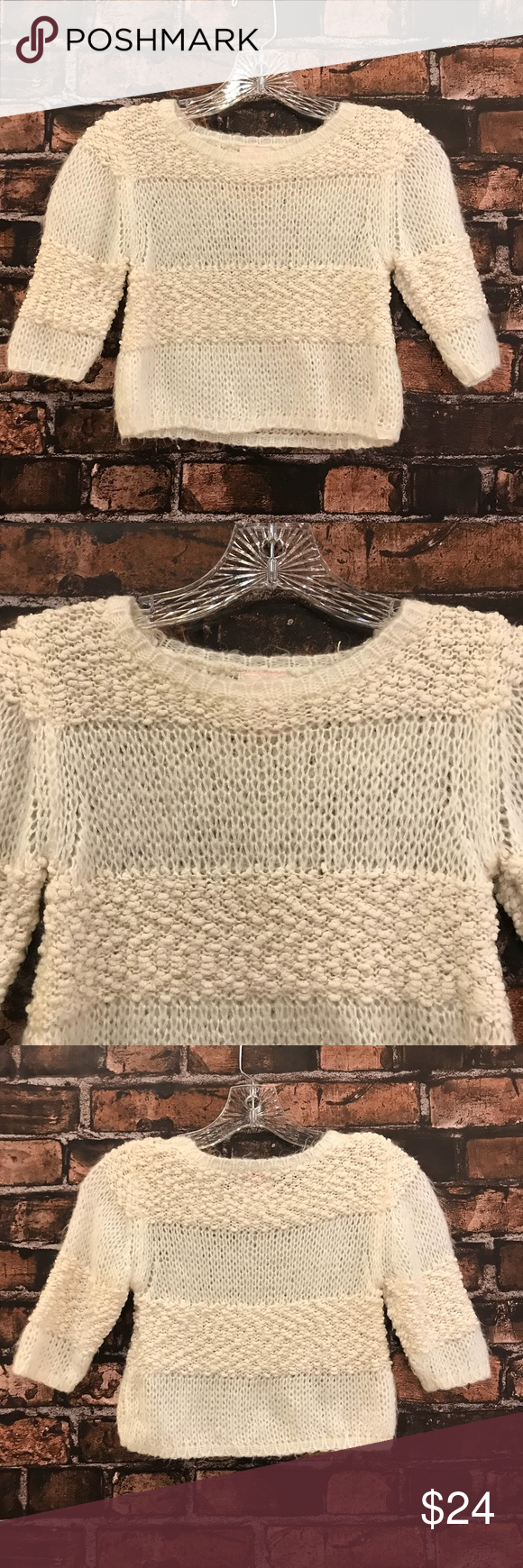 GB girls sweater! Multi texture beige sweater! Loose stitching, would be cute with a black top underneath! Size small. GB Girls Shirts & Tops Sweaters