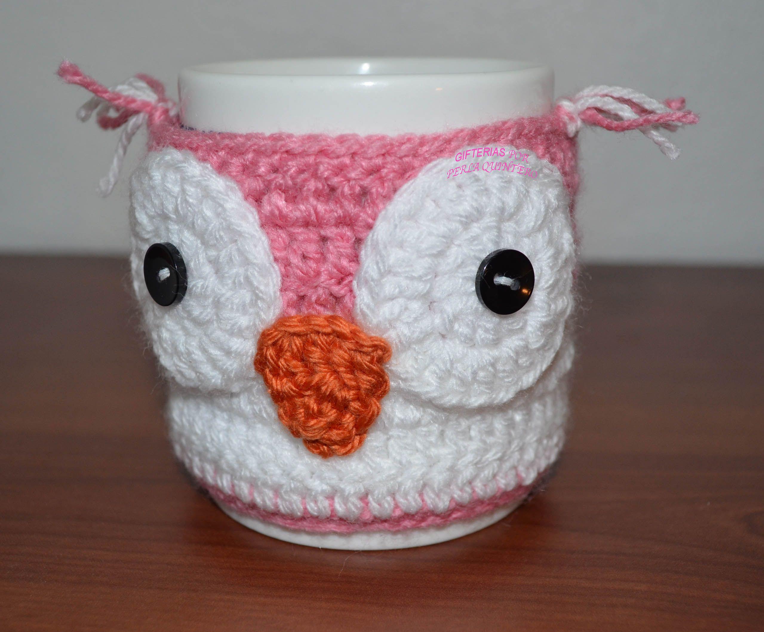 Cubre taza Búho a crochet. | Gifterías | Pinterest | Cosas para la ...