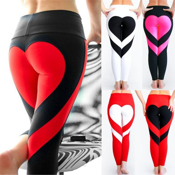 c681793ce8d8bb Wish | Women Special Design Love Yoga Leggings Heart Booty Pants Running  Tights Crop Workout Pants
