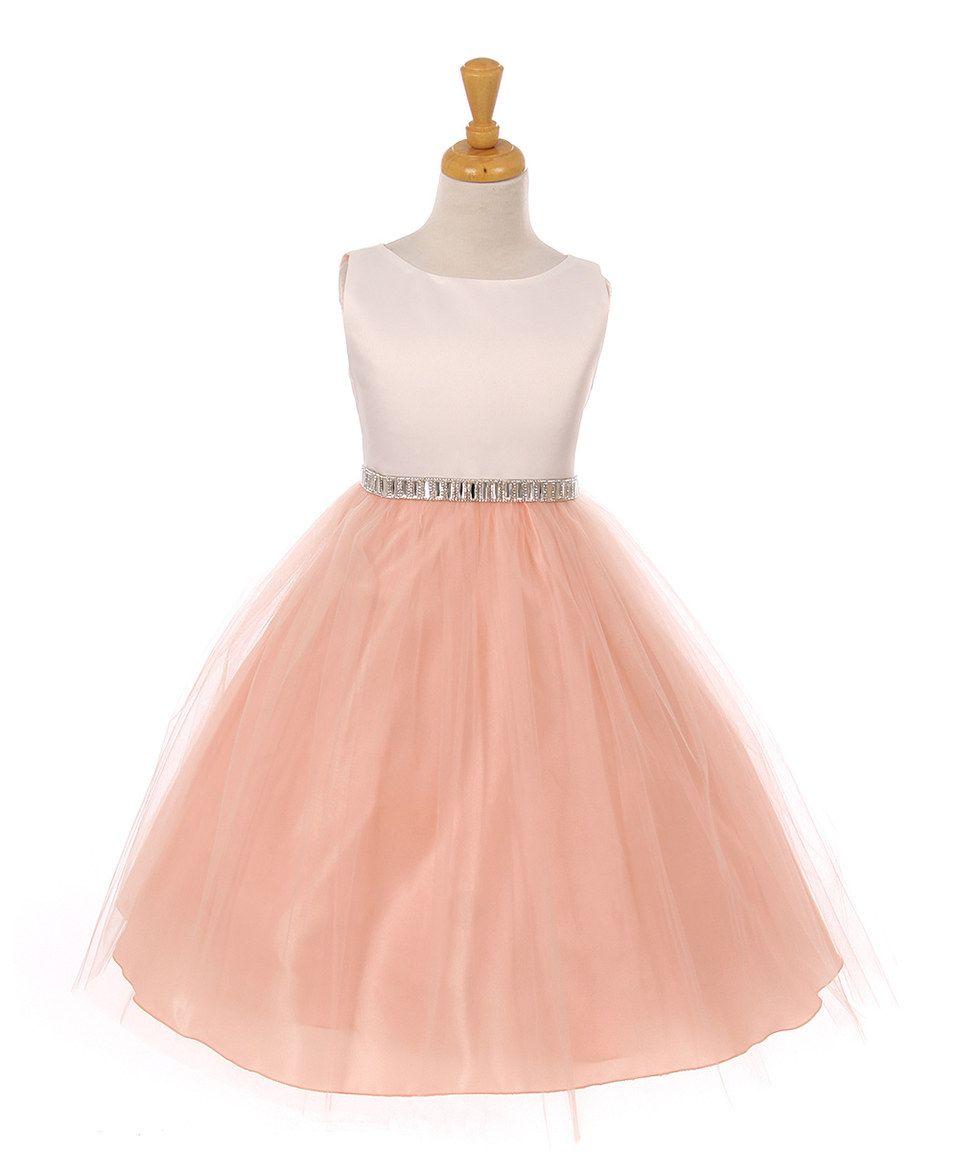 Ivory & Peach A-Line Dress - Toddler & Girls by Shanil #zulily #zulilyfinds