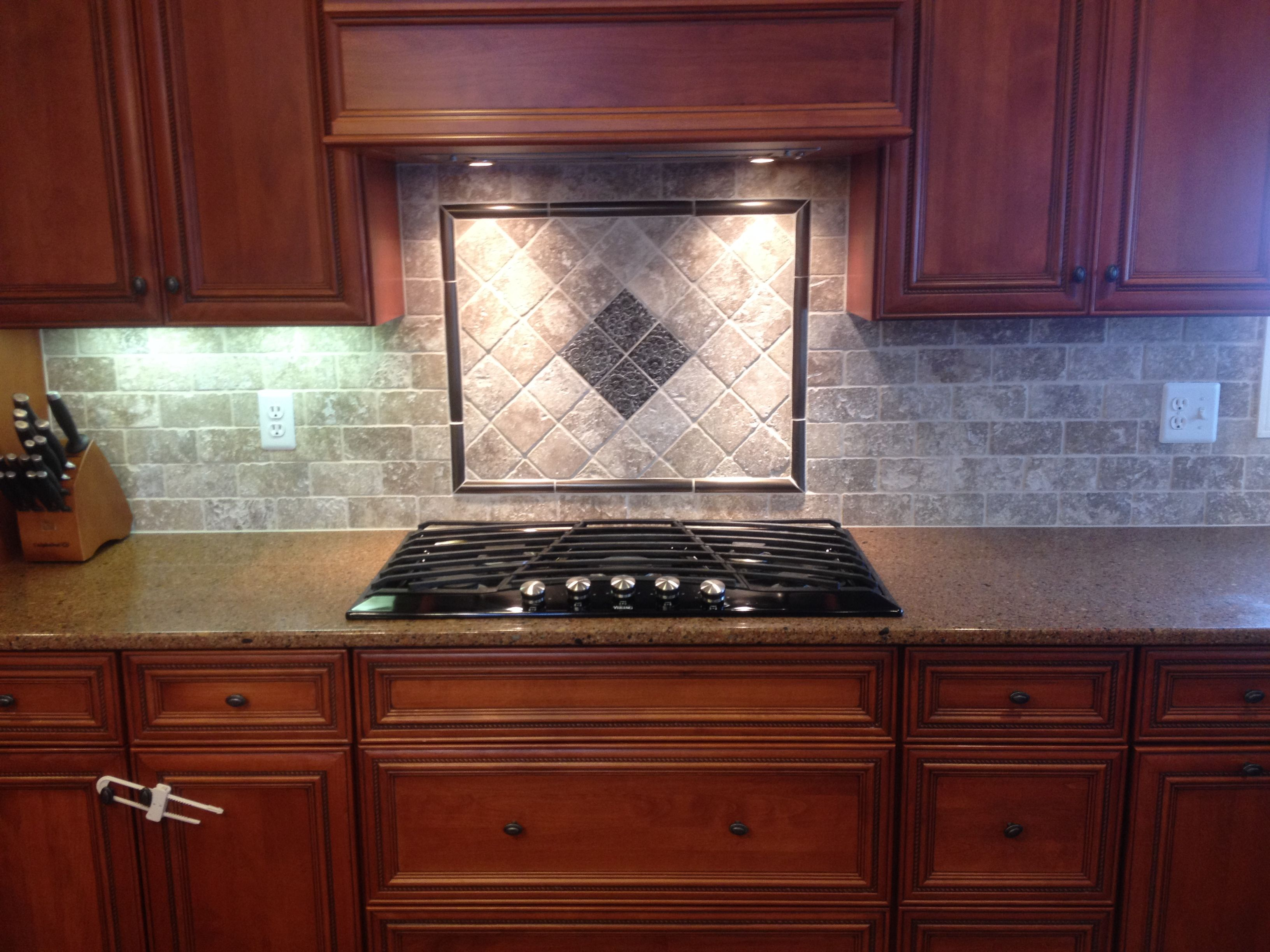 New tile backsplash with mosaic design behind cooktop kitchens new tile backsplash with mosaic design behind cooktop dailygadgetfo Gallery