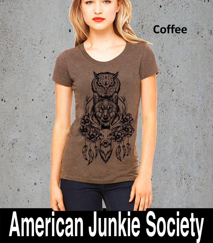 Womens DREAMCATCHER Shirt DEER Shirt)Deer Antler Shirt-Dream Catcher T-shirt-Bohemian Clothing-Native American Apparel Girlfriend Gift- by AmericanJunkieSoc on Etsy