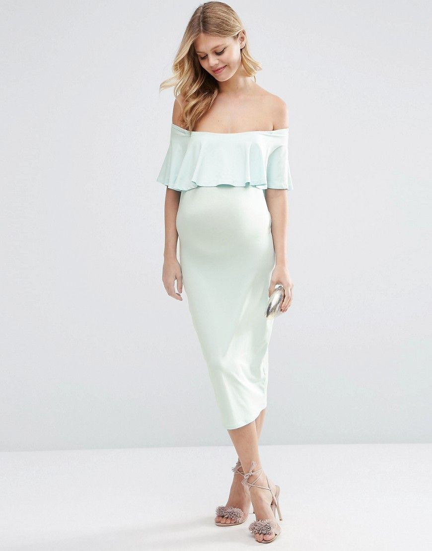 The off the shoulder ruffle detail is so dreamy babies shop asos maternity midi bardot pencil dress with ruffle at asos ombrellifo Choice Image