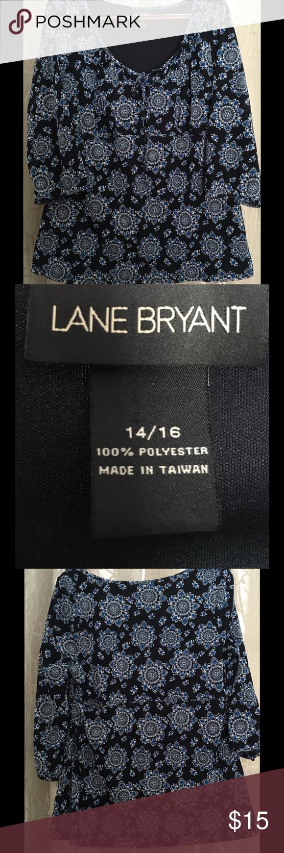 Ladies Lane Bryan blue/black shirt sz 14/16 Adorable denim blue and black soft pullover shirt.  Sz 14/16 Lane Bryant Tops Tunics