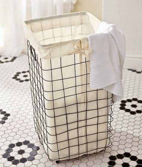 French Wire Hamper Liner Laundry Basket On Wheels Wire