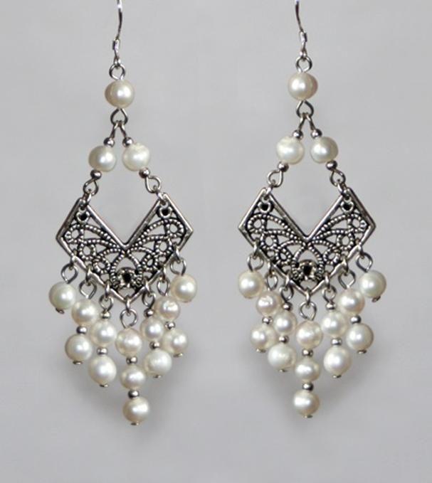 Tibetan style pearl chandelier earrings | Pearl chandelier ...