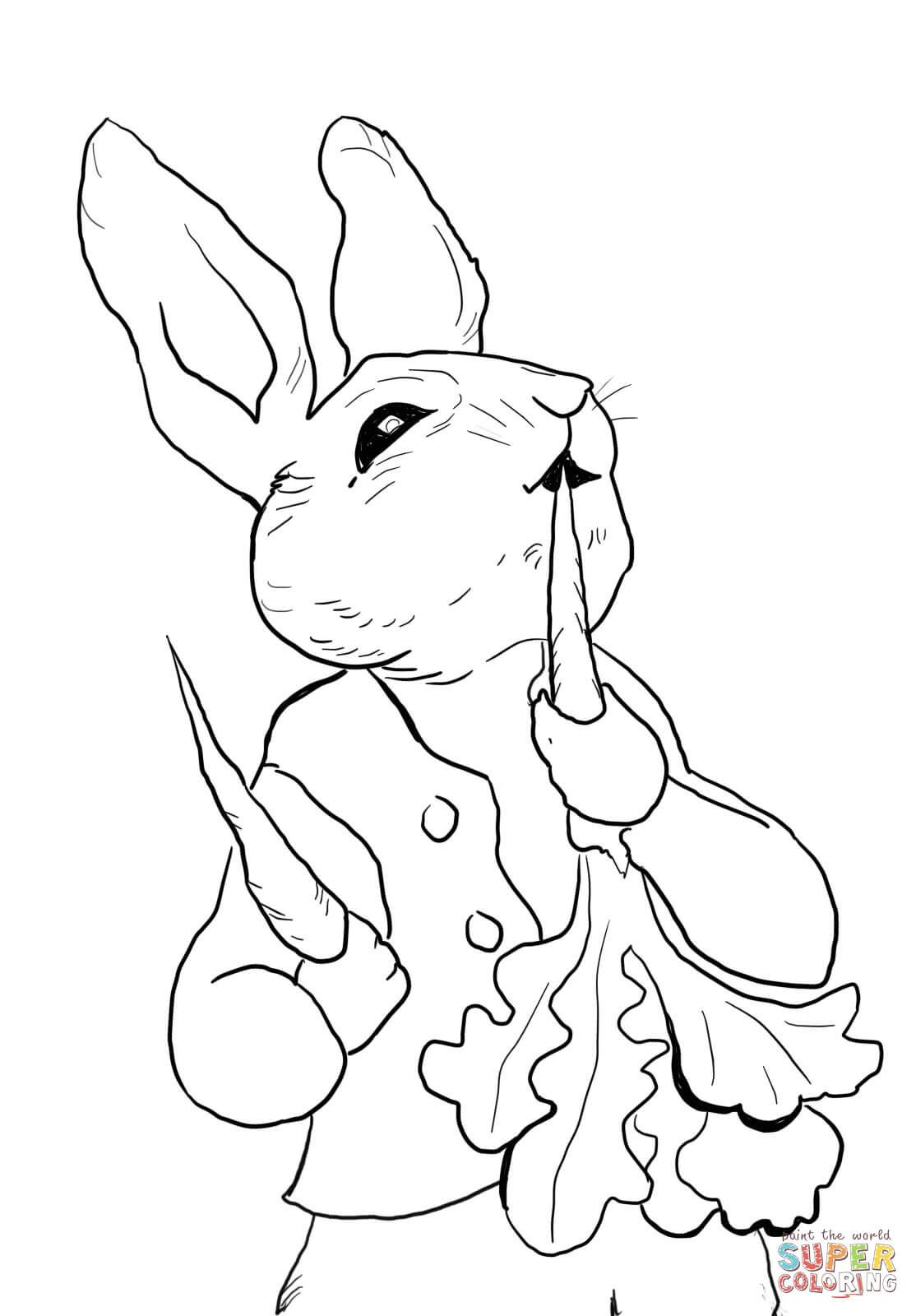 Free printable coloring pages rabbits - Peter Rabbit Eating Radishes Coloring Page Printable Peter Page