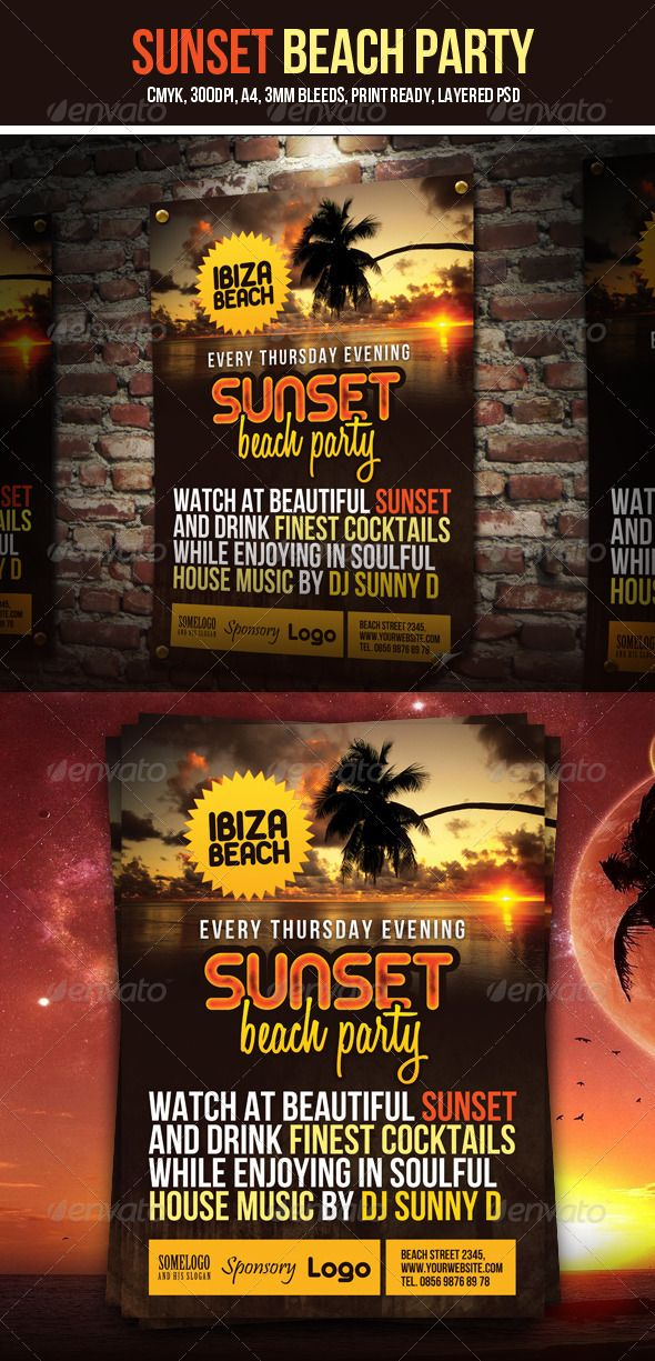 Sunset Beach Party Flyer #GraphicRiver Sunset Beach Party Flyer is ...