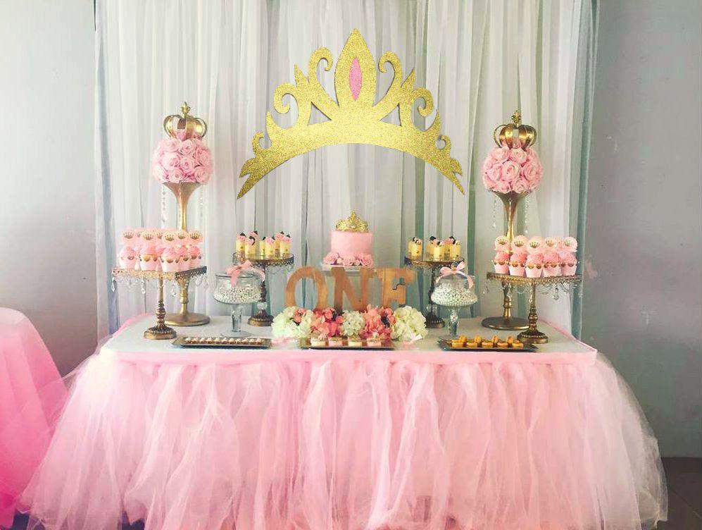 Gold Glitter Tiara Cutout Backdrop Girls Pink Party Prop Glitter