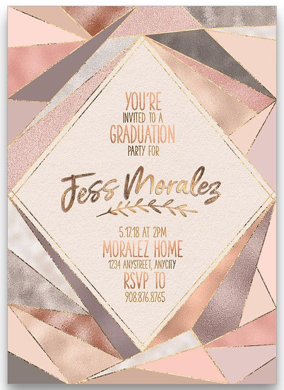 Rose gold graduation party invitation graduation announcement rose gold graduation party invitation graduation announcement graduation invitation customized for you printable or printed blush pink graduation filmwisefo
