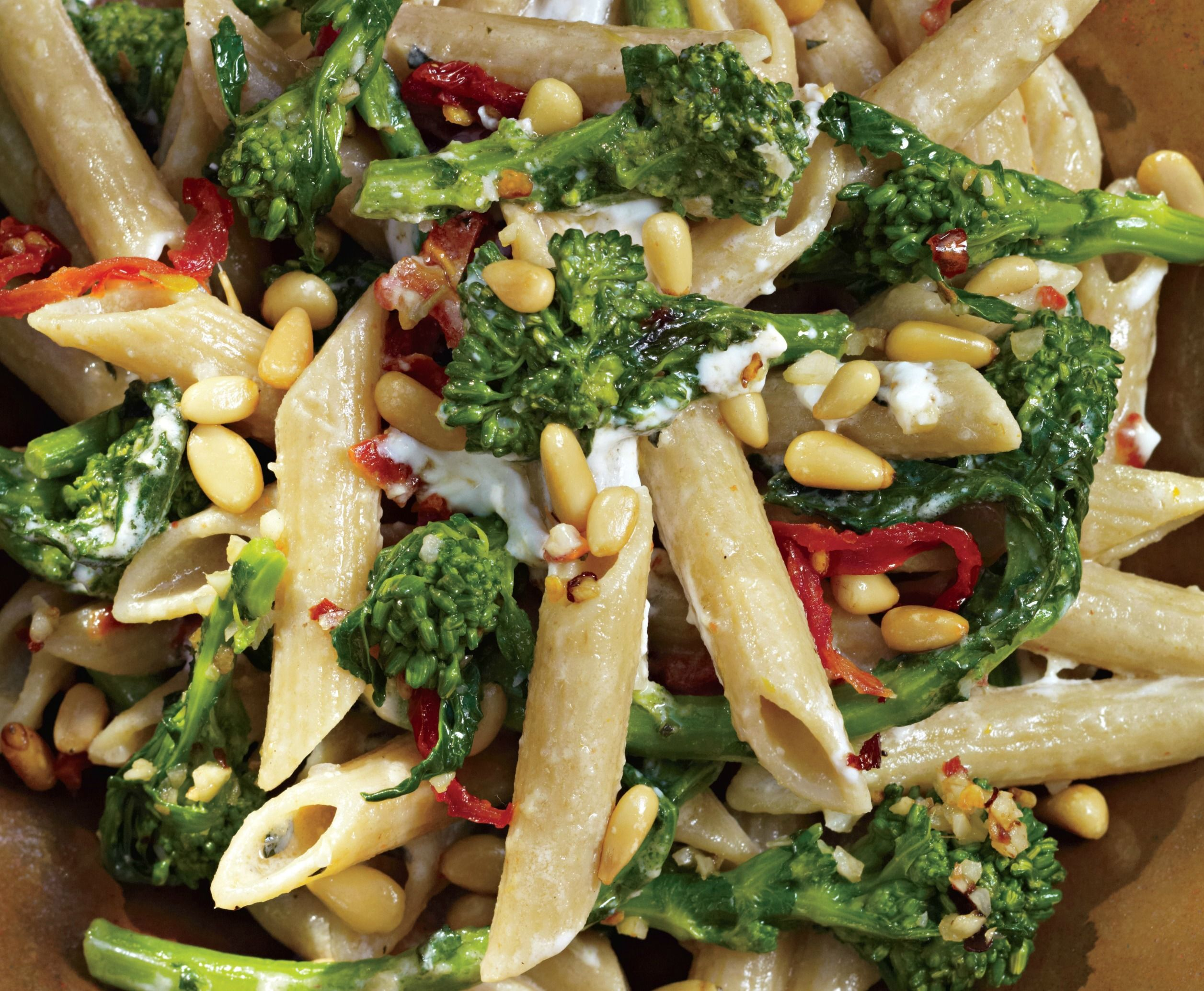 Looking for a pasta recipe? This pasta is filled with goat cheese, broccoli and sun-dried tomatoes.