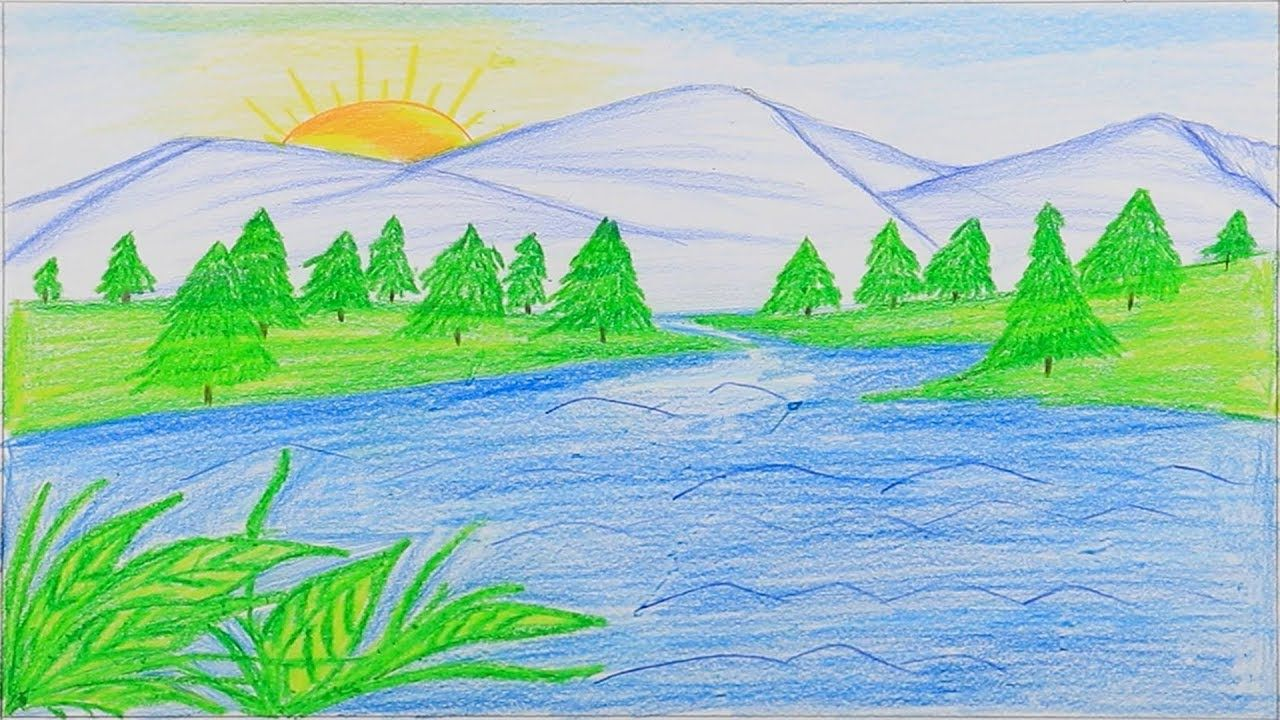 How To Draw A Beautiful Mountain Lake Step By Step Very Easy