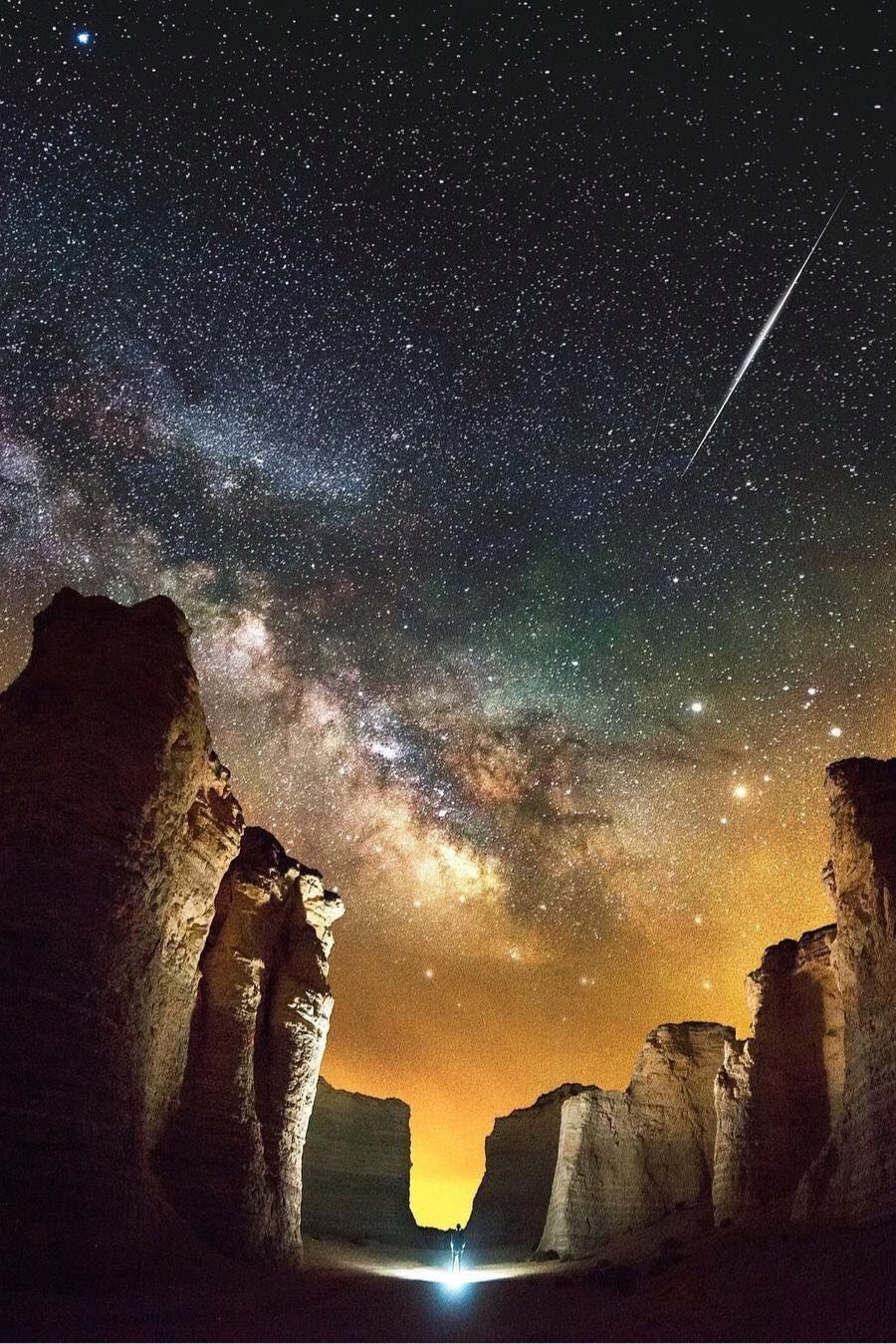 Milky Way Over Monument Rocks In Kansas Us