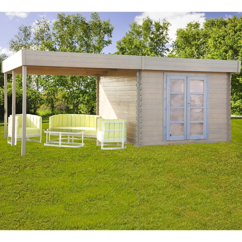 Abri de jardin à toit plat 9m² + pergola 9m² en bois massif 28mm