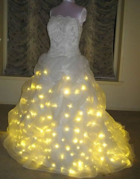 a11075ed01e A sparkly wedding dress WITH twinkle lights! What a perfect combo hahahah