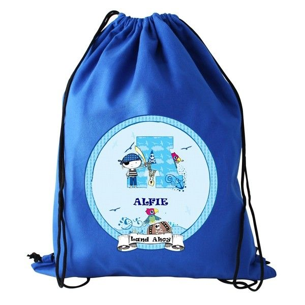 Personalised Pirate Ahoy Boys Kids Sports Swimming PE School Drawstring Bag