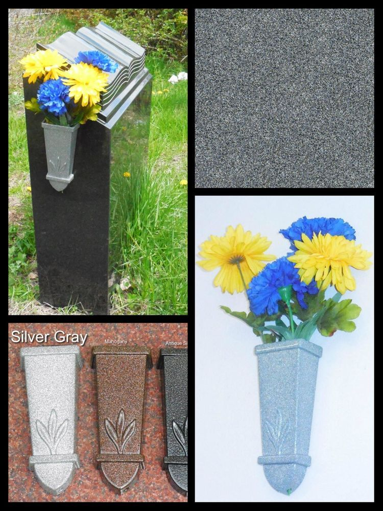 7 Metal Wall Mount Cemetery Flower Vase Silver Gray Vases