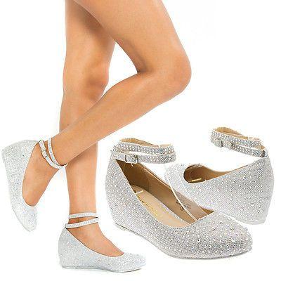 Women Silver Ankle Strap Crystal Wedge Med Low Heel Pump