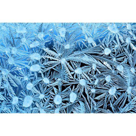 Close Up Of Frost Crystals With Cyan Lighting Calgary Alberta Canada Canvas Art - Michael Interisano Design Pics (40 x 26)