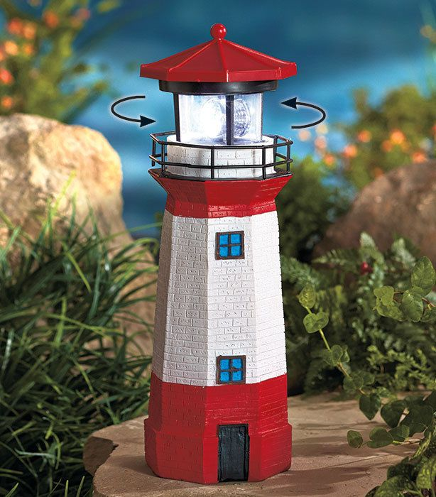 Solar Lighthouse Rotating Lamp Garden Yard Lawn Porch Patio Deck
