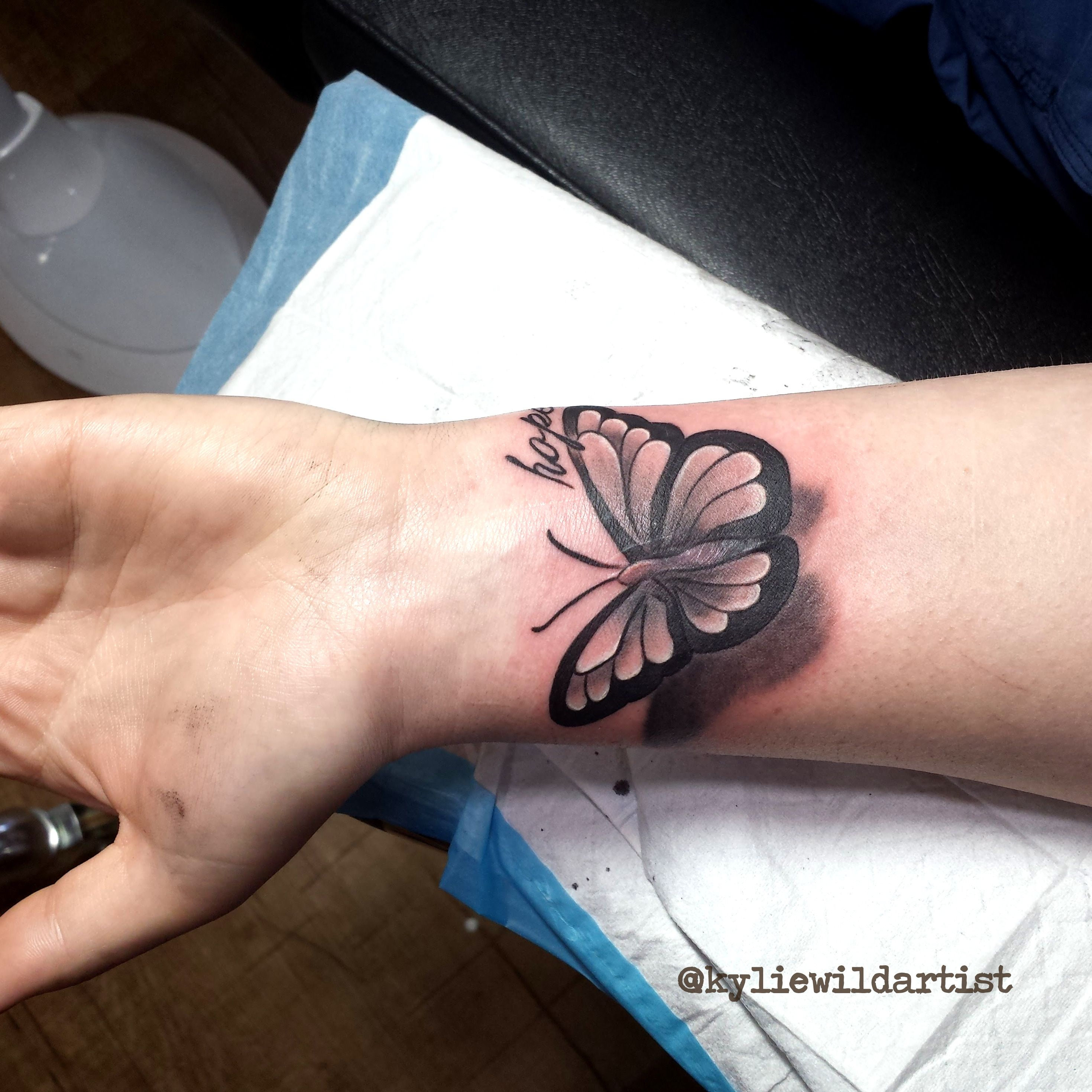 3d butterfly scar cover up tattoo black and grey by kylie